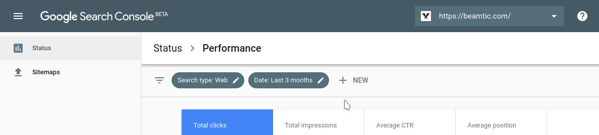 Google Search Console, fixed header
