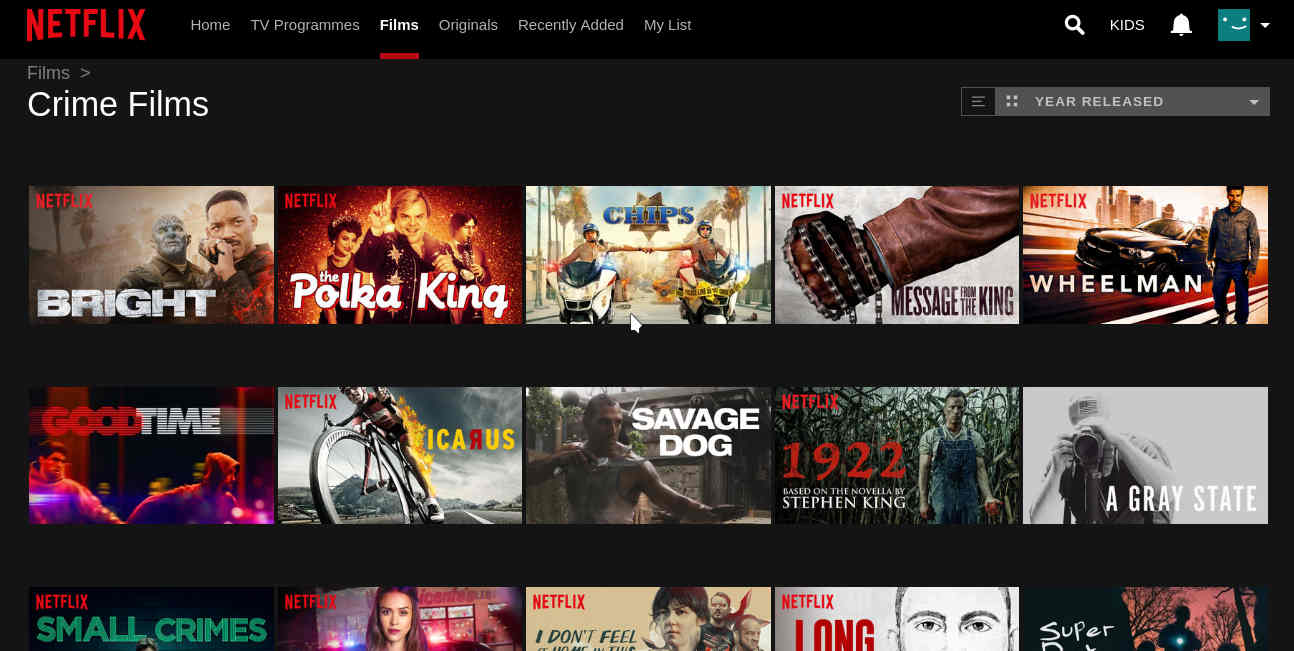 Netflix sorting by year released.