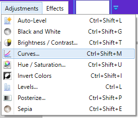 Screenshot of the adjustment curves tool in Paint.NET