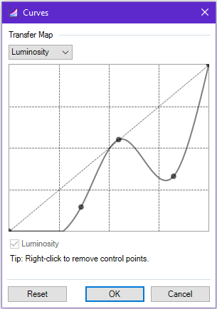 Screenshot of the adjustment curve points in Paint.NET