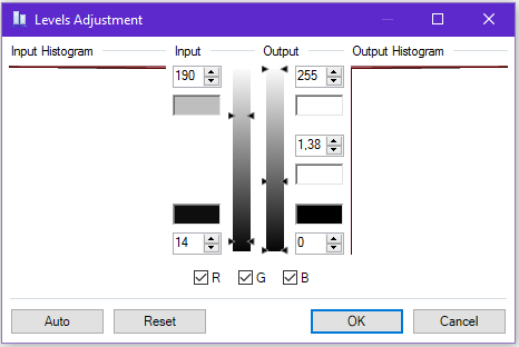 Screenshot of the adjustment level sliders in Paint.NET