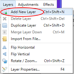 Screenshot showing how to create a new layer in Paint.NET