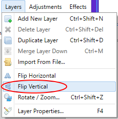 Screenshot showing how to flip a layer vertically in Paint.NET