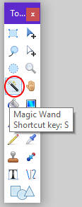 Screenshot of the magic wand tool in Paint.NET