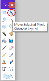 Screenshot of the move tool in Paint.NET