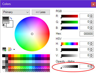 Using the opacity - alpha color slider in Paint.NET.
