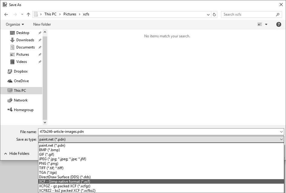 Screenshot showing save as dialog for xcf files in Paint.NET.