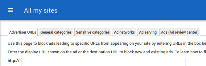 Allow & block ads in Adsense