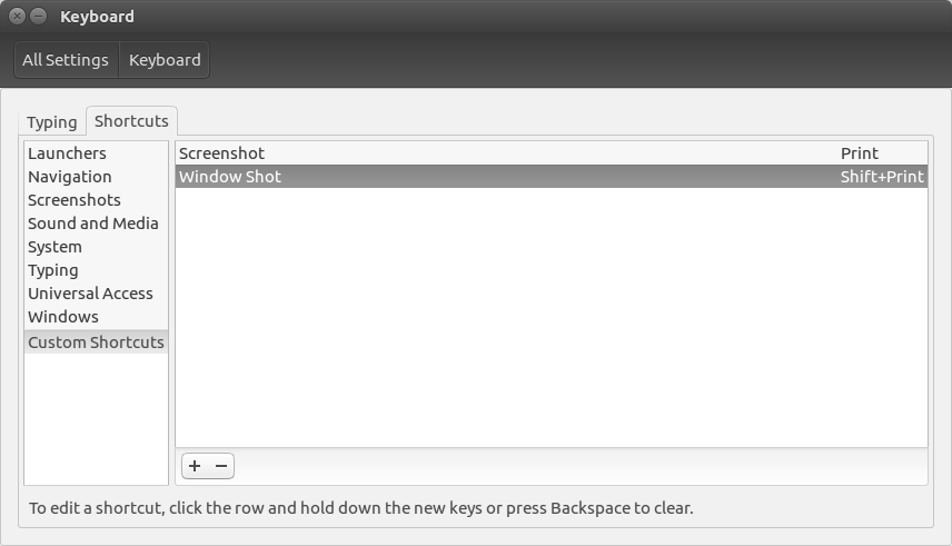 Image showing where to find the keyboard settings in Ubuntu.