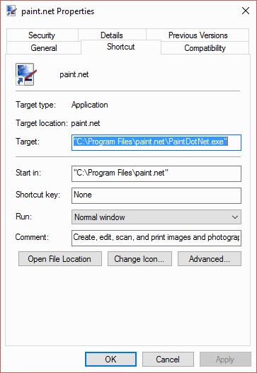 Paint.NET shortcut properties