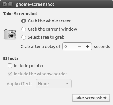 Image showing the screenshot application in Ubuntu